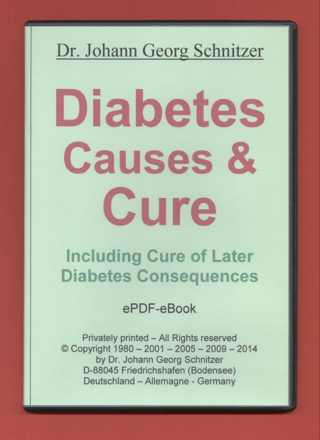 Diabetes Causes & Cure, book how to cure diabetes type I and II including their later consequences