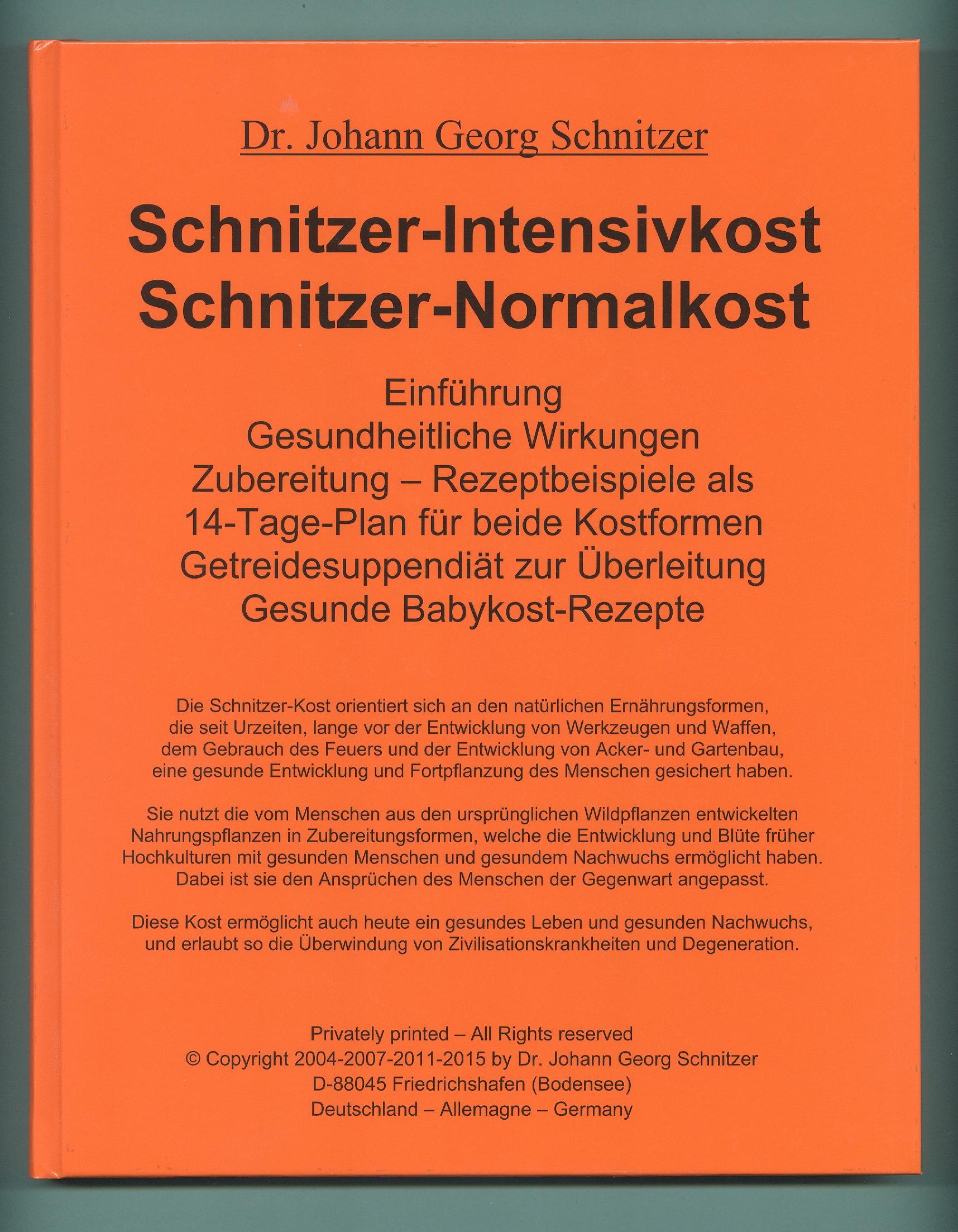 Buch Schnitzer-Intensivkost, Schnitzer-Normalkost